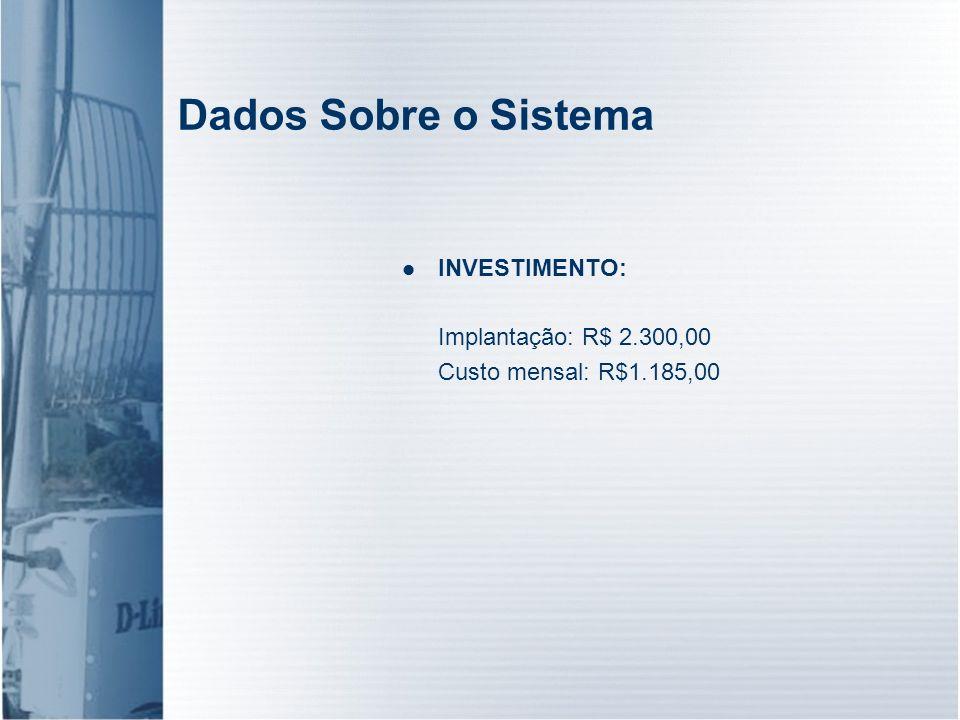 Dados Sobre o Sistema INVESTIMENTO: Implantação: R$ 2.300,00