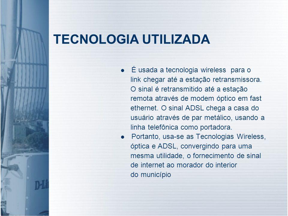 TECNOLOGIA UTILIZADA É usada a tecnologia wireless para o
