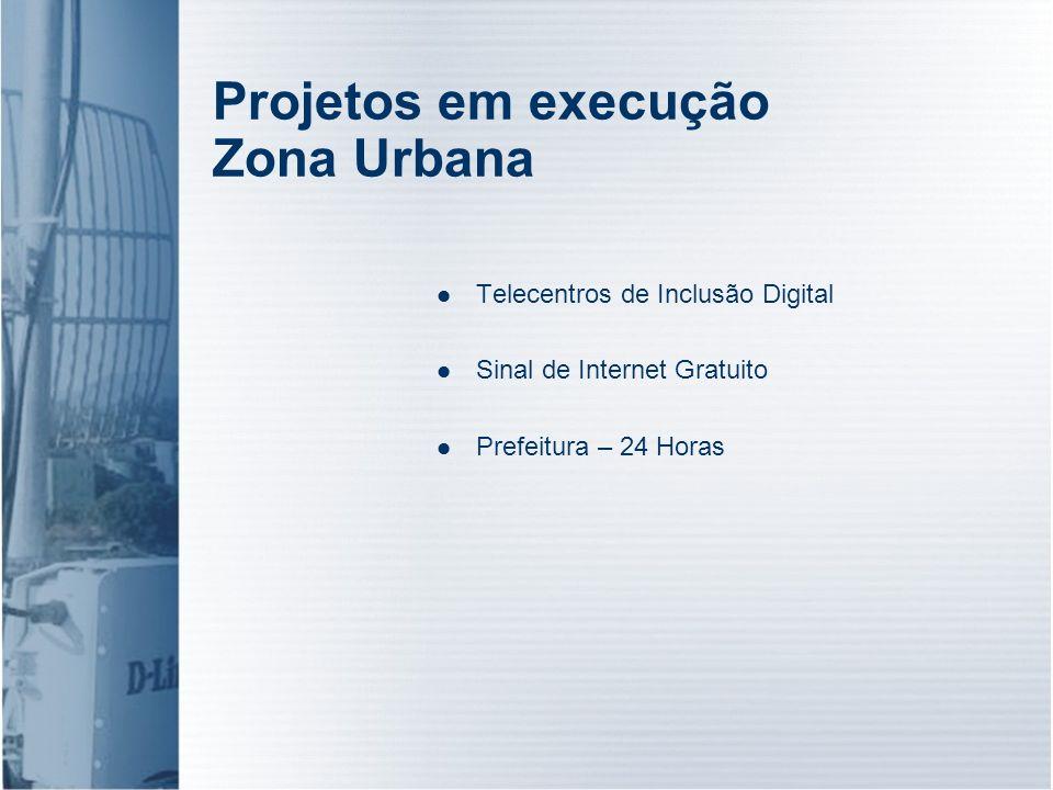 Projetos em execução Zona Urbana
