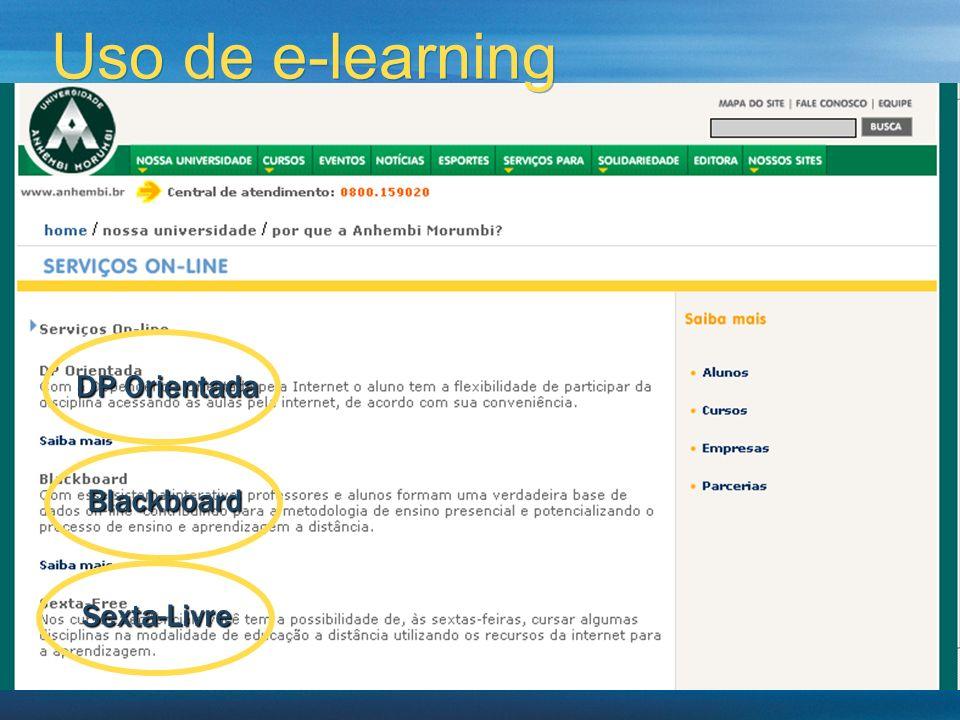 Uso de e-learning DP Orientada Blackboard Sexta-Livre