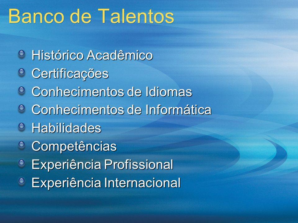 Banco de Talentos Histórico Acadêmico Certificações