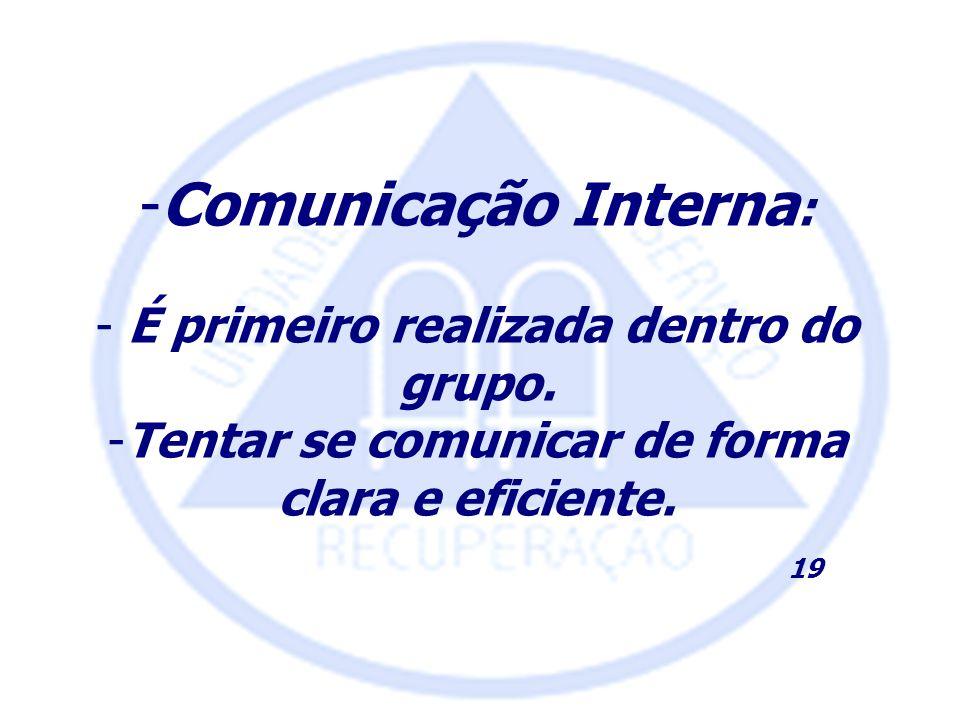 Comunicação Interna: 19 É primeiro realizada dentro do grupo.