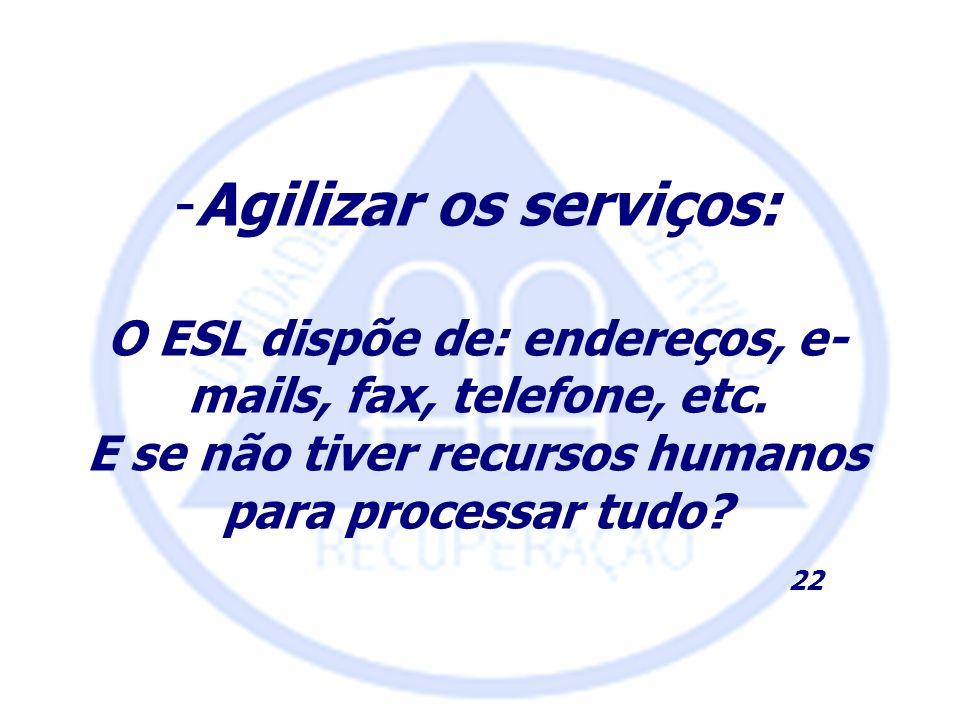 Agilizar os serviços: O ESL dispõe de: endereços, e-mails, fax, telefone, etc. E se não tiver recursos humanos para processar tudo