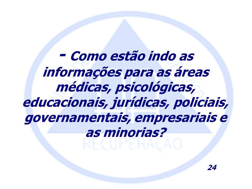 - Como estão indo as informações para as áreas médicas, psicológicas, educacionais, jurídicas, policiais, governamentais, empresariais e as minorias