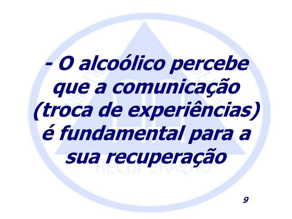 - O alcoólico percebe que a comunicação (troca de experiências) é fundamental para a sua recuperação