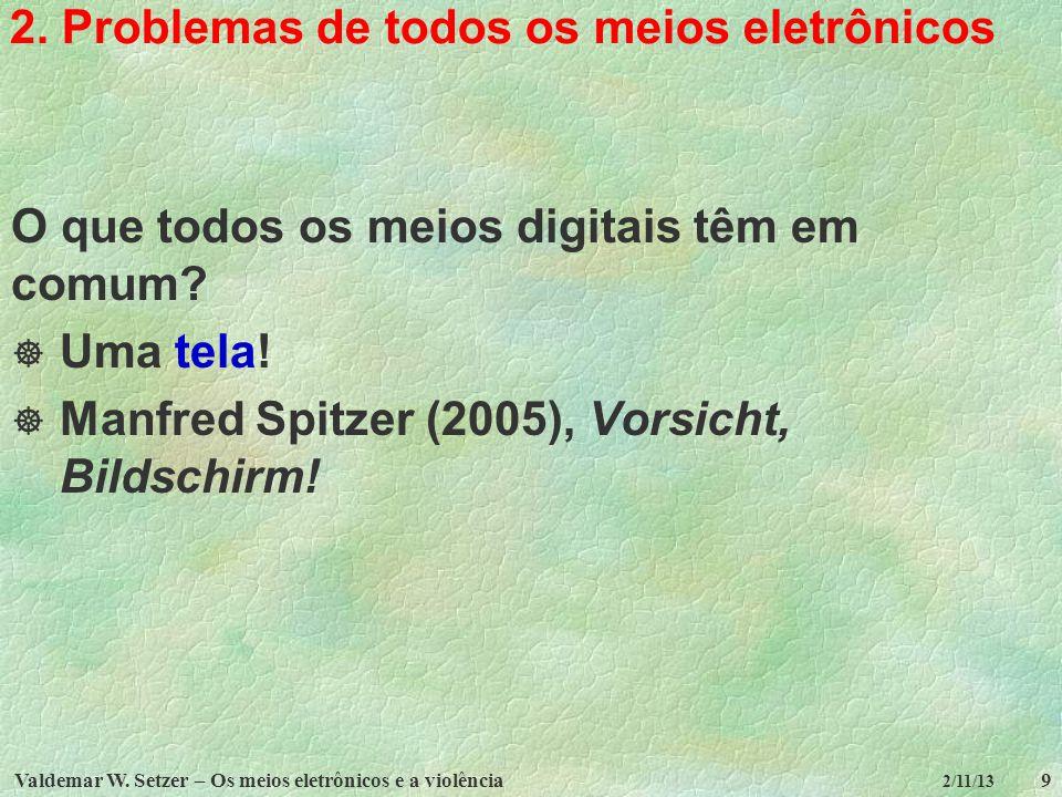 2. Problemas de todos os meios eletrônicos