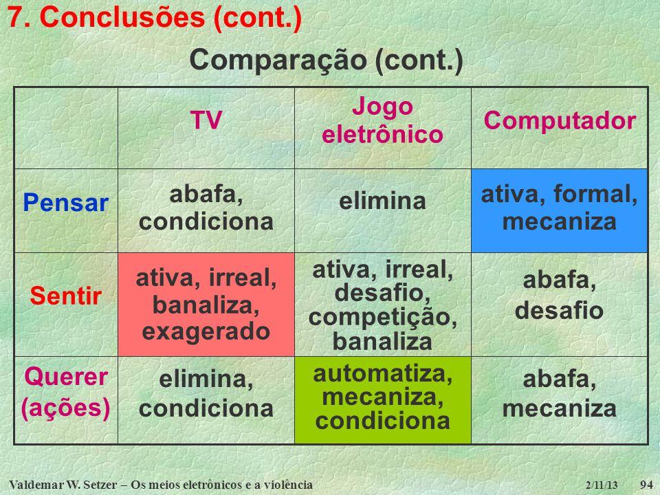 7. Conclusões (cont.) Comparação (cont.) abafa, mecaniza automatiza,