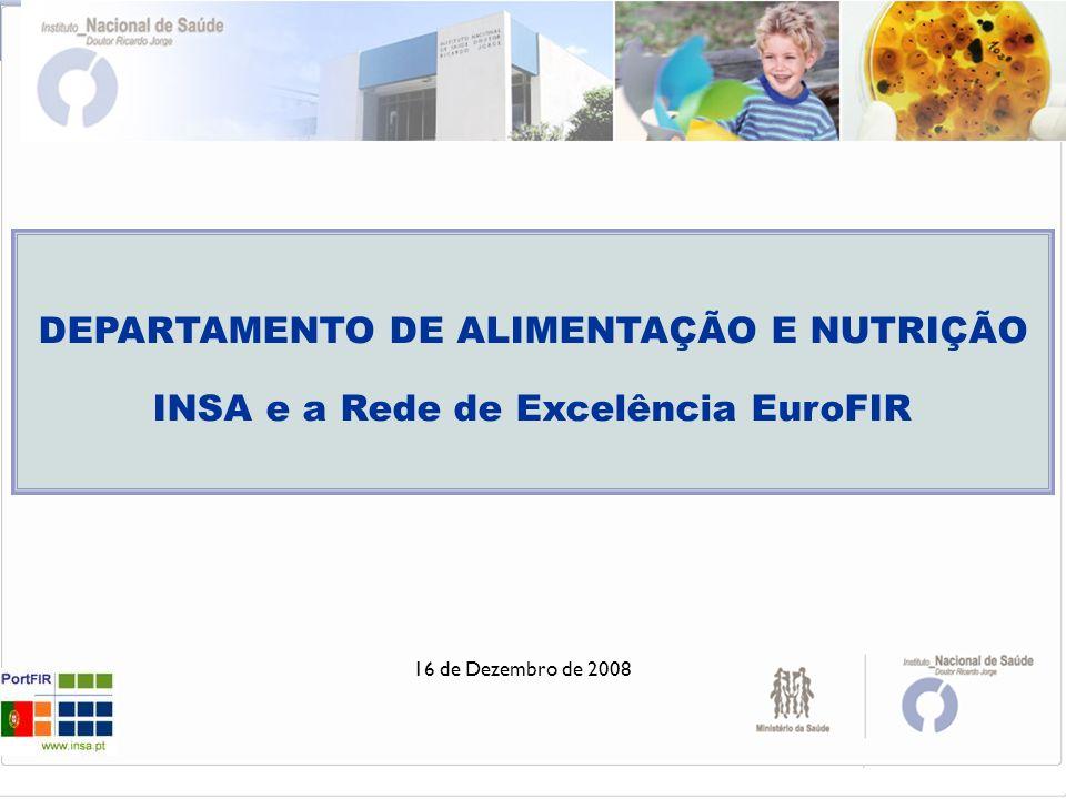 178NE030312 DEPARTAMENTO DE ALIMENTAÇÃO E NUTRIÇÃO INSA e a Rede de Excelência EuroFIR. 16 de Dezembro de 2008.
