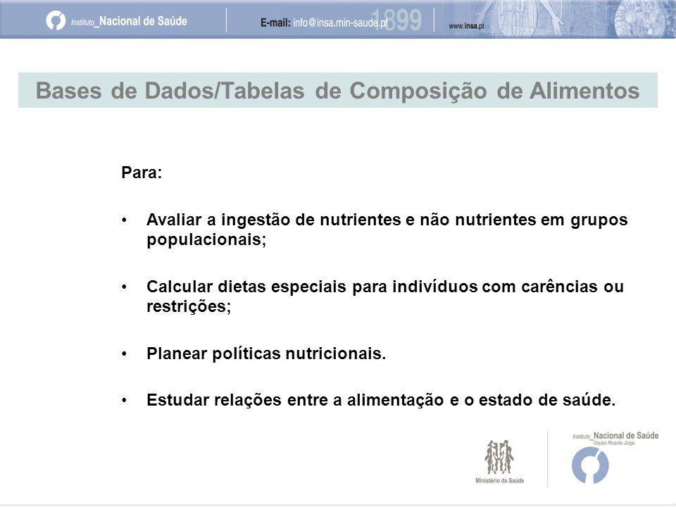 Bases de Dados/Tabelas de Composição de Alimentos