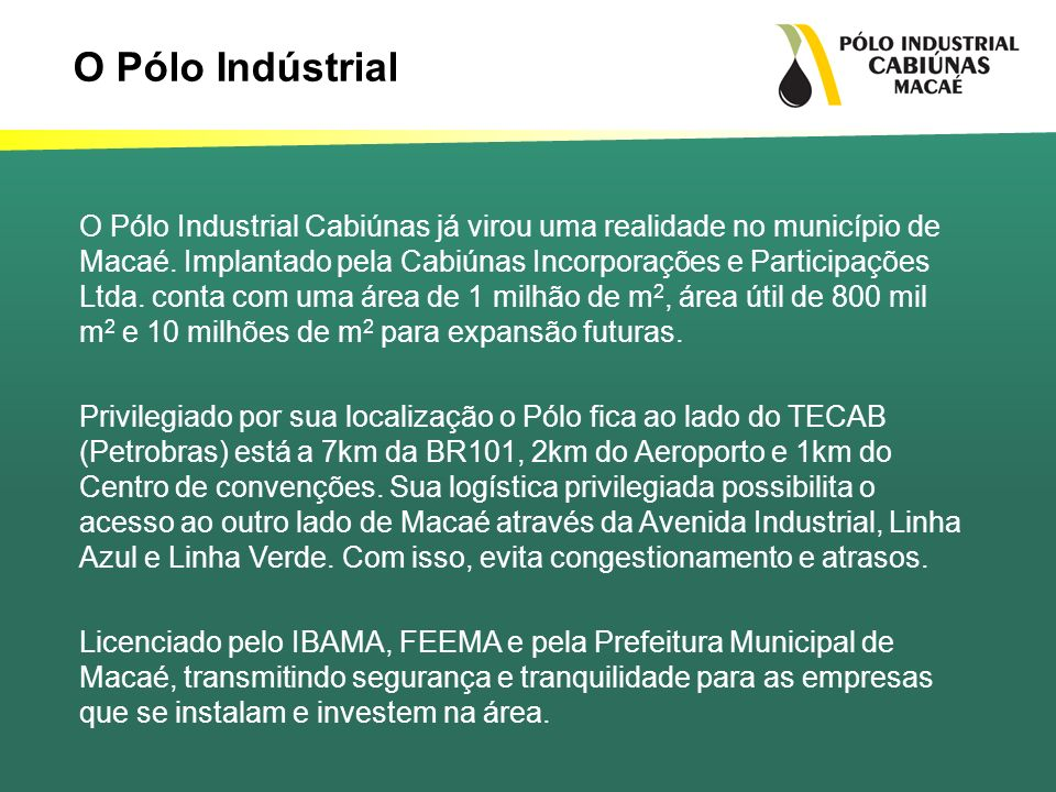 O Pólo Indústrial