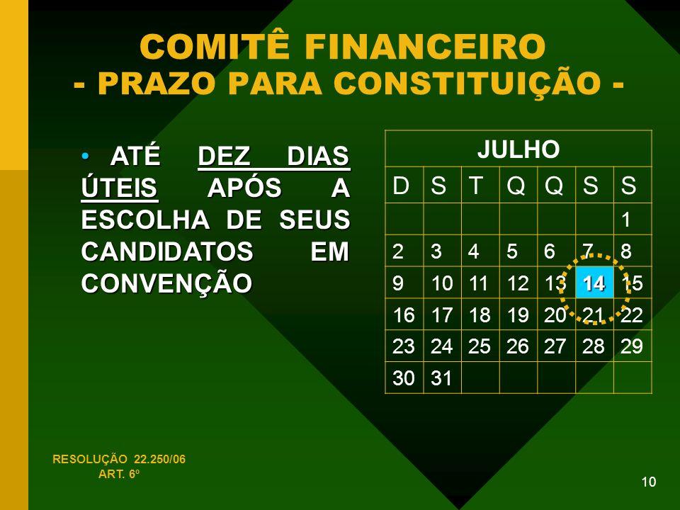 COMITÊ FINANCEIRO - PRAZO PARA CONSTITUIÇÃO -