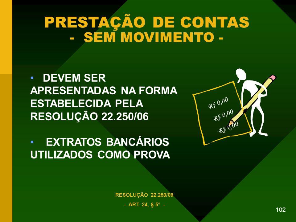 PRESTAÇÃO DE CONTAS - SEM MOVIMENTO -