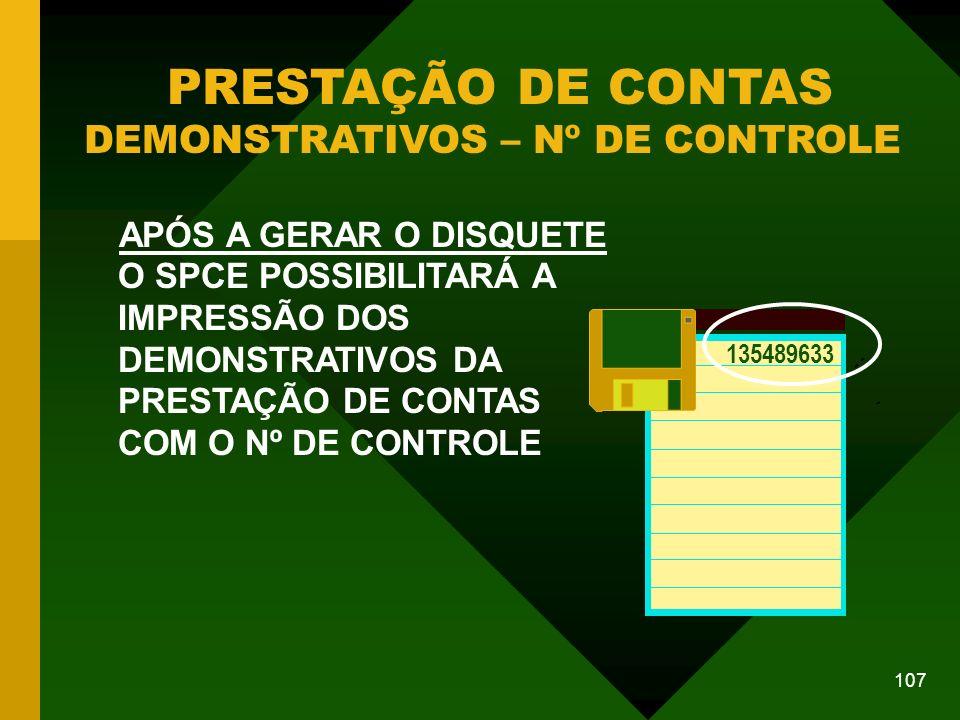 PRESTAÇÃO DE CONTAS DEMONSTRATIVOS – Nº DE CONTROLE