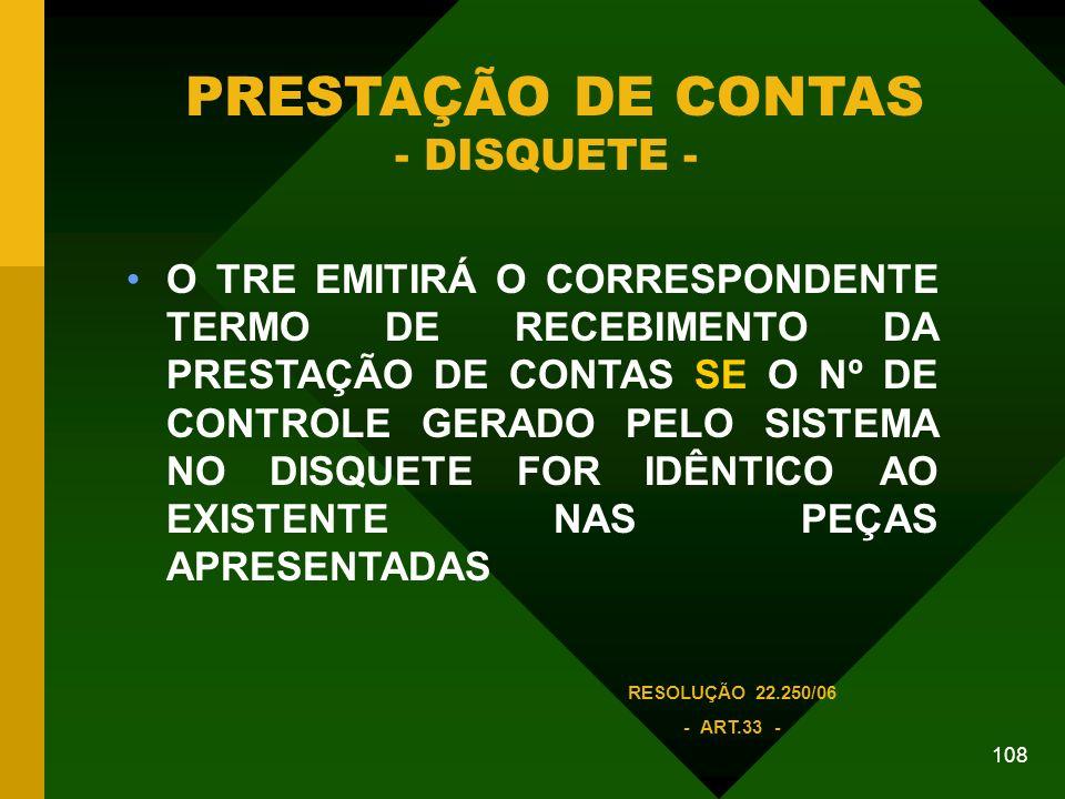 PRESTAÇÃO DE CONTAS - DISQUETE -