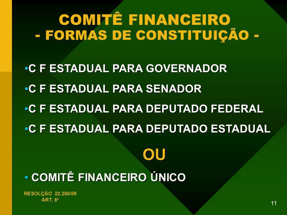 COMITÊ FINANCEIRO - FORMAS DE CONSTITUIÇÃO -