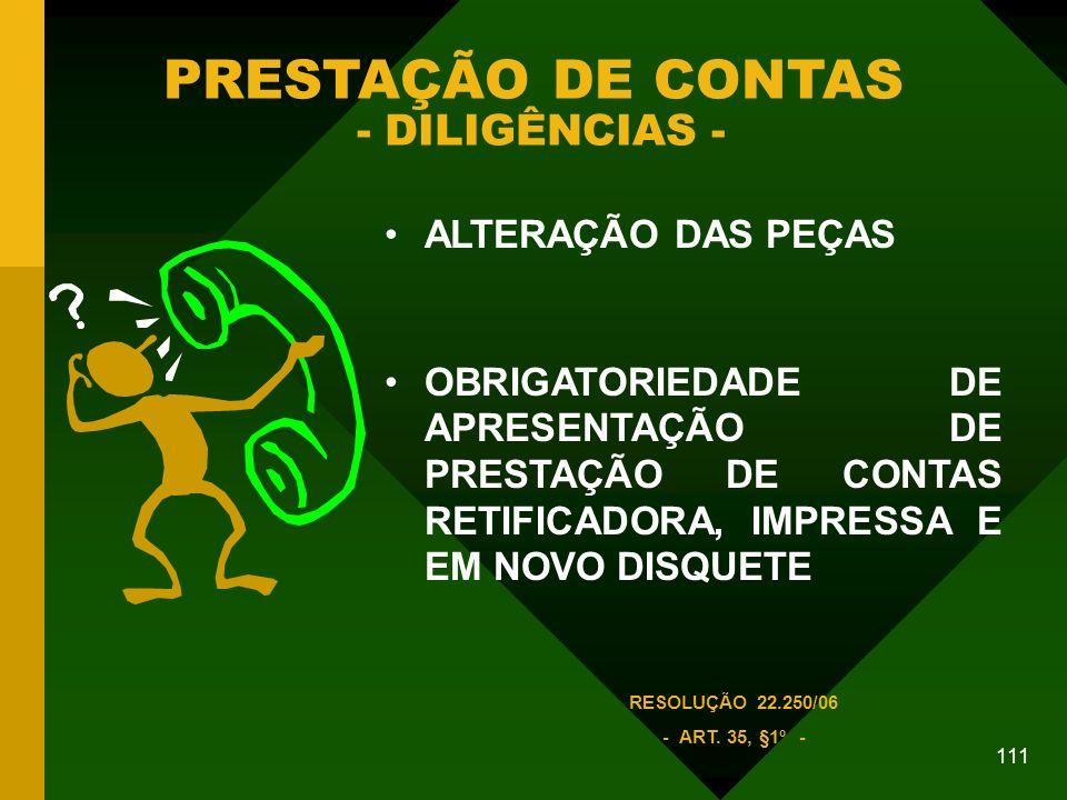 PRESTAÇÃO DE CONTAS - DILIGÊNCIAS -