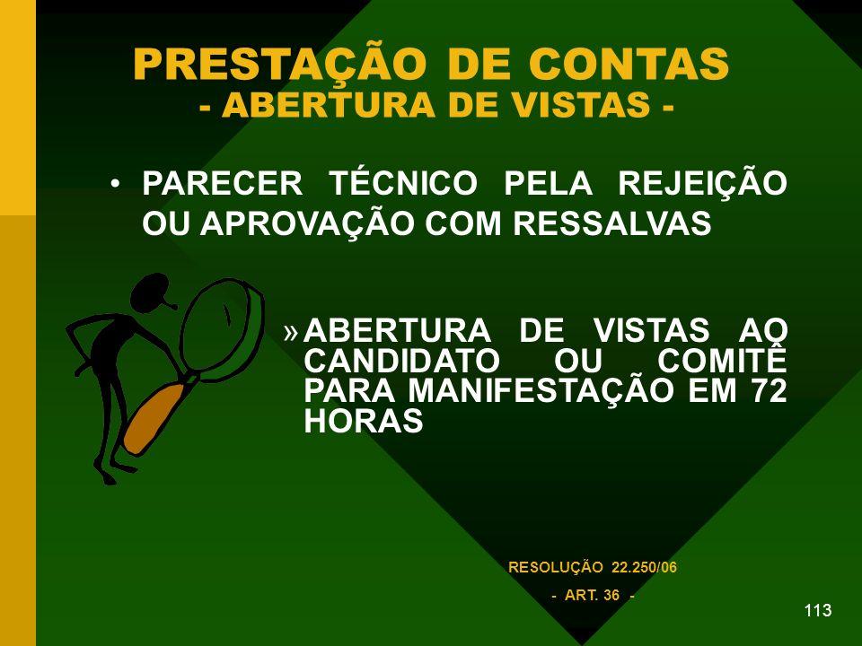 PRESTAÇÃO DE CONTAS - ABERTURA DE VISTAS -