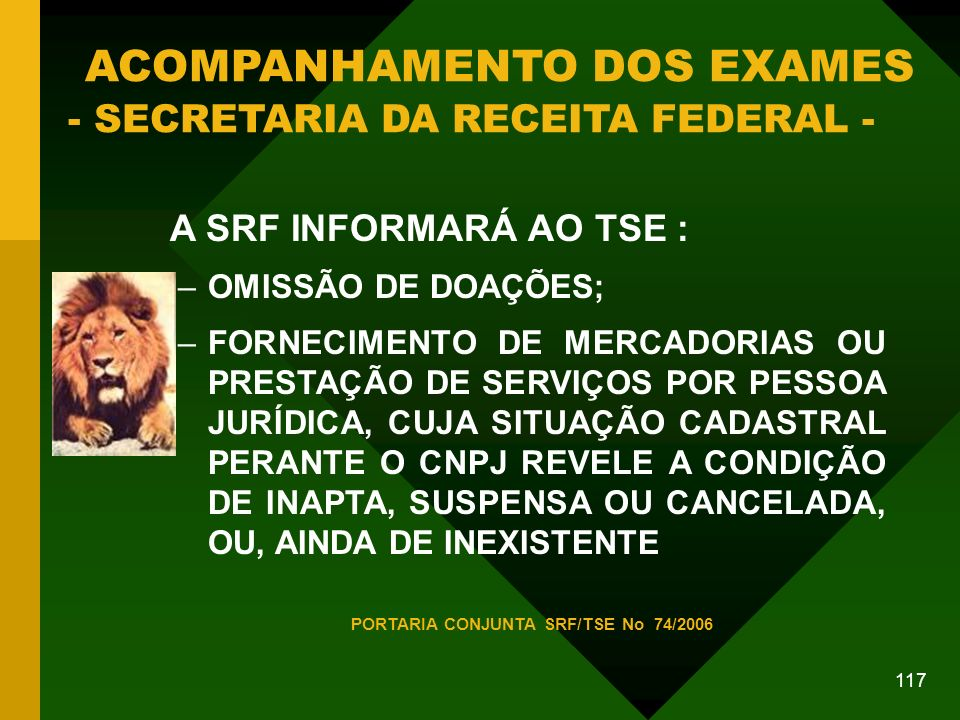 PORTARIA CONJUNTA SRF/TSE No 74/2006