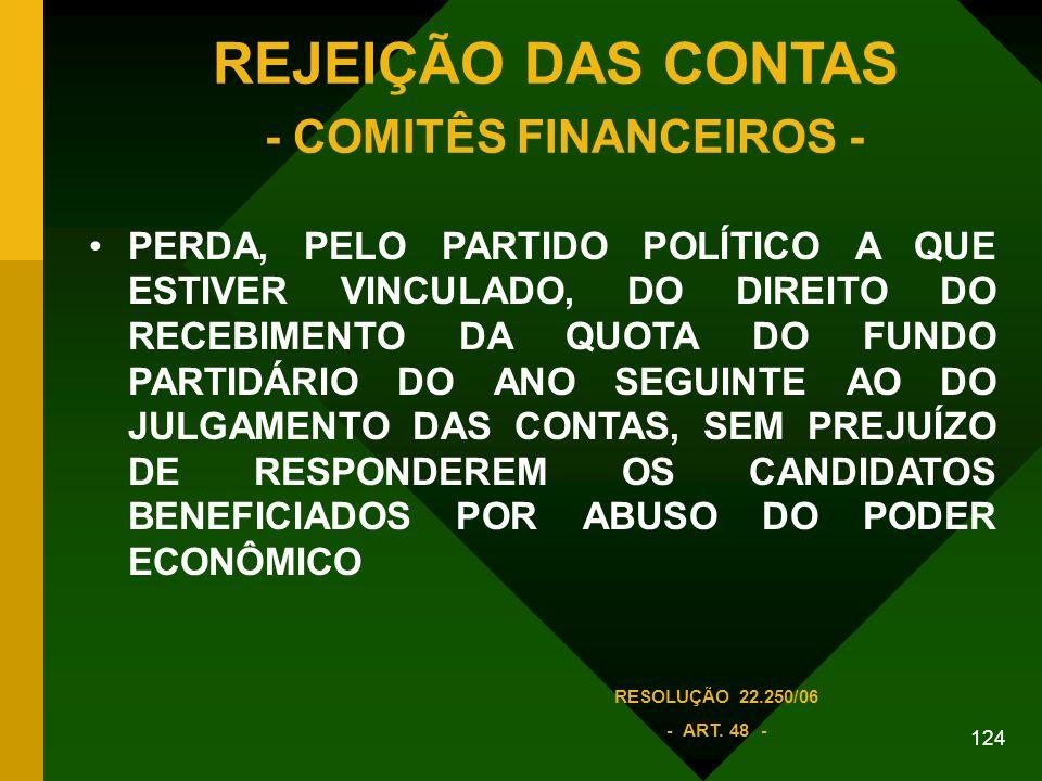 REJEIÇÃO DAS CONTAS - COMITÊS FINANCEIROS -