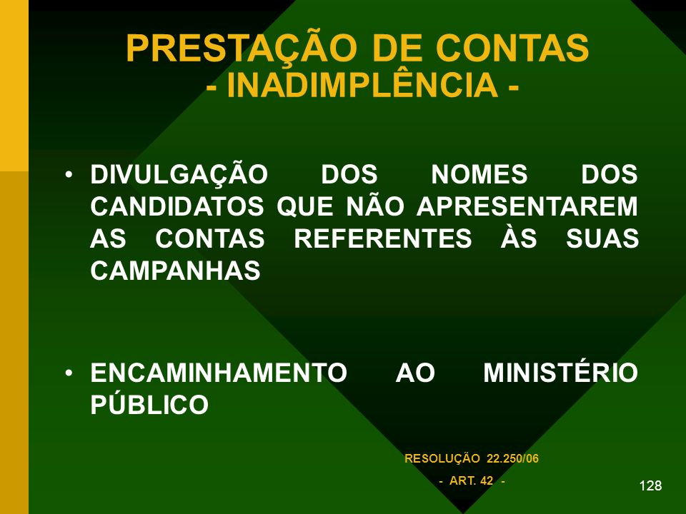PRESTAÇÃO DE CONTAS - INADIMPLÊNCIA -