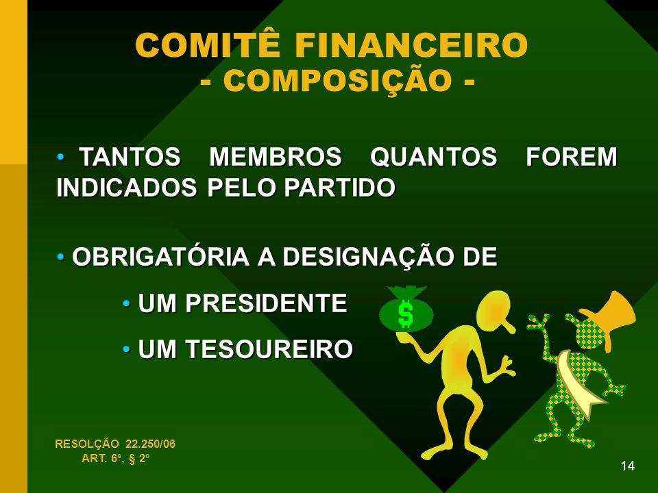 COMITÊ FINANCEIRO - COMPOSIÇÃO -