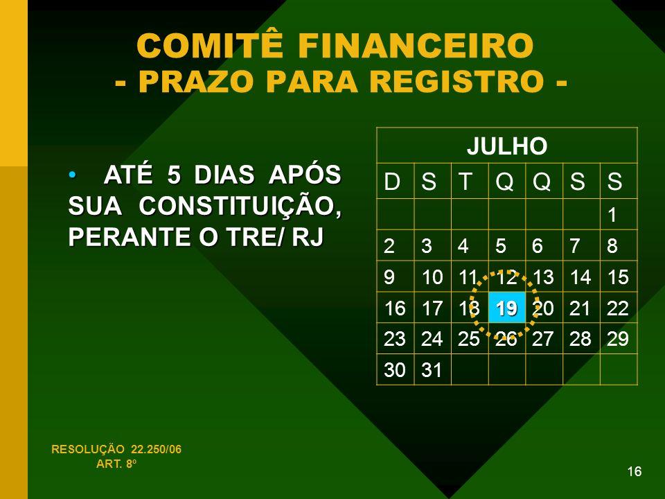 COMITÊ FINANCEIRO - PRAZO PARA REGISTRO -
