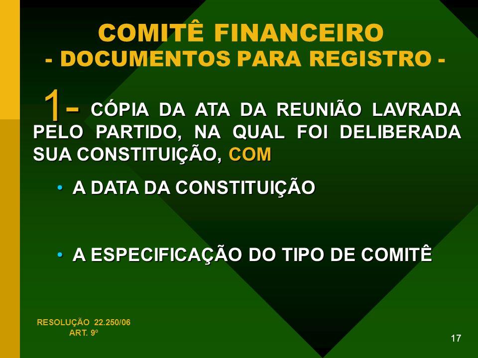 COMITÊ FINANCEIRO - DOCUMENTOS PARA REGISTRO -