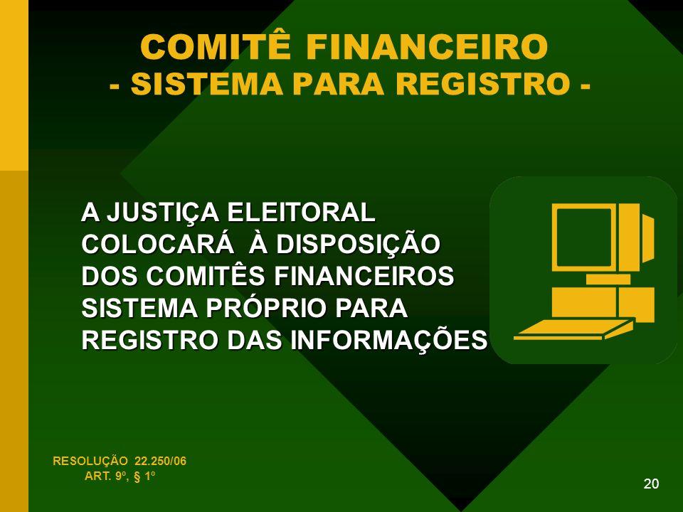 COMITÊ FINANCEIRO - SISTEMA PARA REGISTRO -