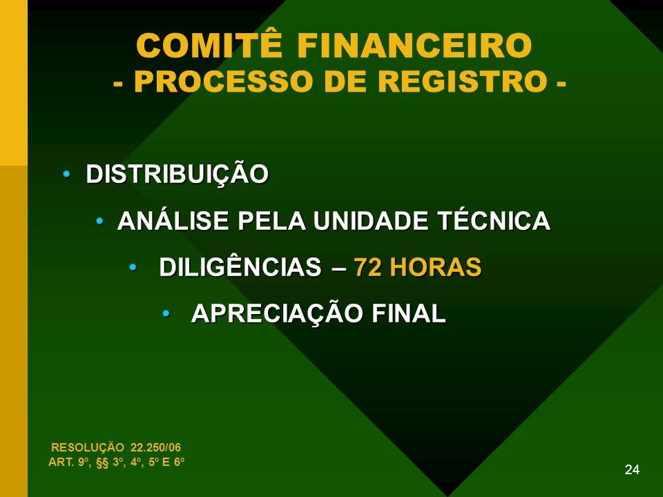 COMITÊ FINANCEIRO - PROCESSO DE REGISTRO -