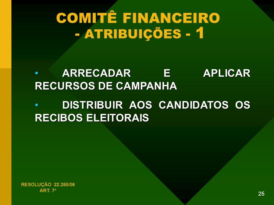COMITÊ FINANCEIRO - ATRIBUIÇÕES - 1