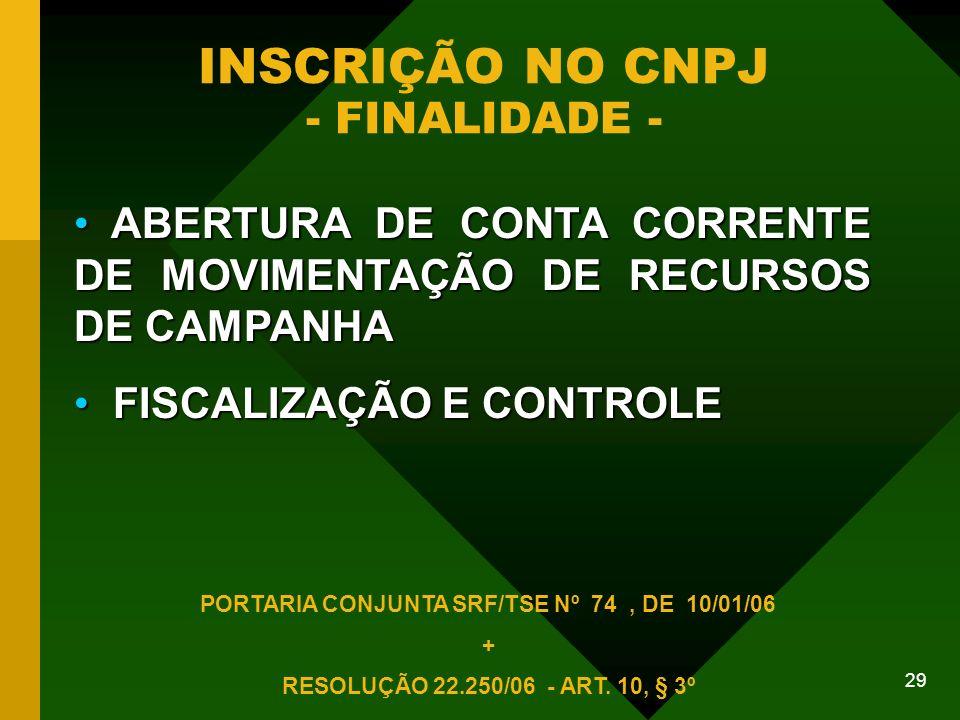 INSCRIÇÃO NO CNPJ - FINALIDADE -