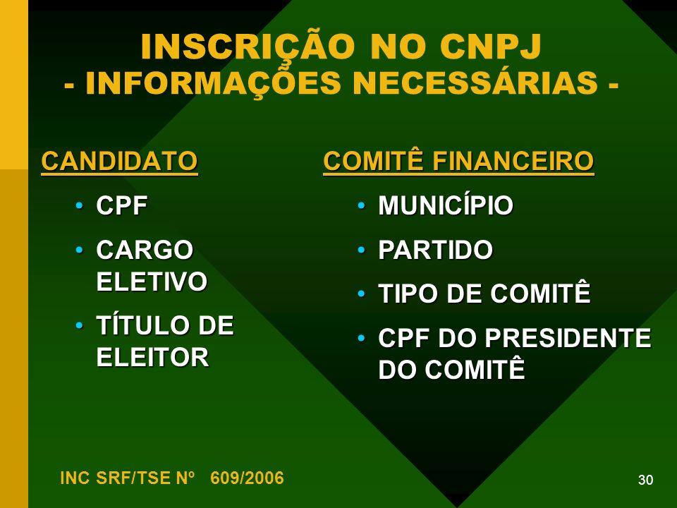 INSCRIÇÃO NO CNPJ - INFORMAÇÕES NECESSÁRIAS -