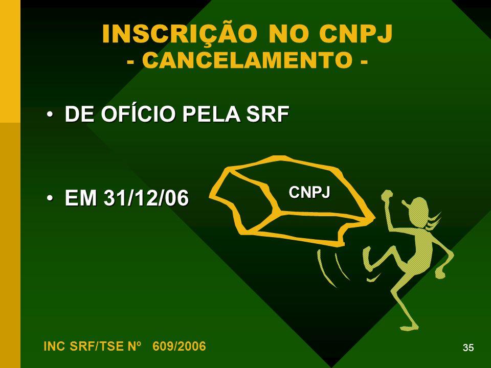 INSCRIÇÃO NO CNPJ - CANCELAMENTO -