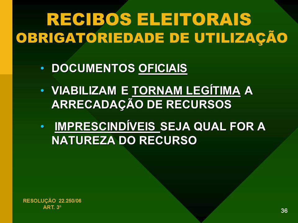RECIBOS ELEITORAIS OBRIGATORIEDADE DE UTILIZAÇÃO