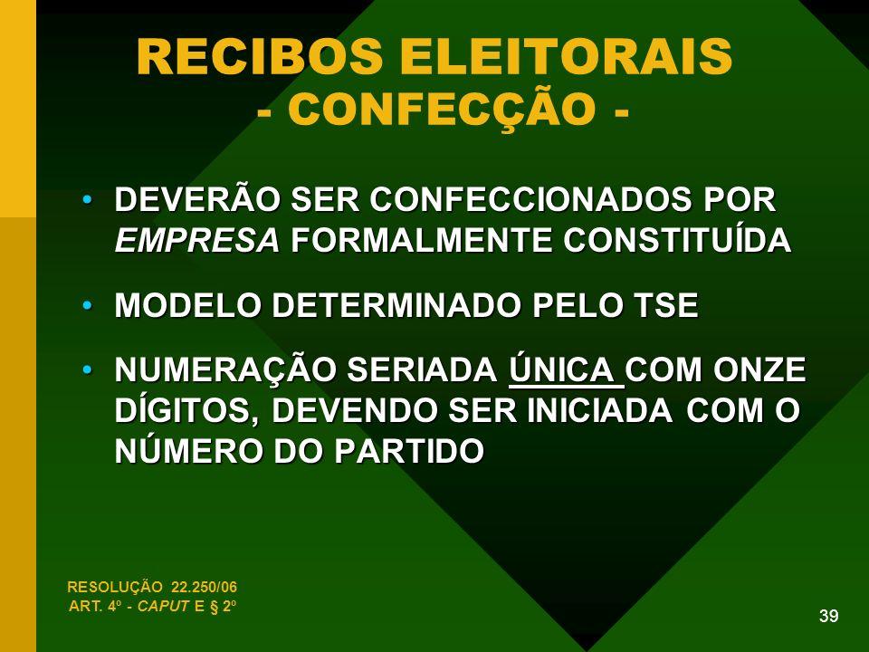 RECIBOS ELEITORAIS - CONFECÇÃO -