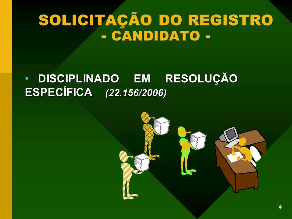 SOLICITAÇÃO DO REGISTRO - CANDIDATO -