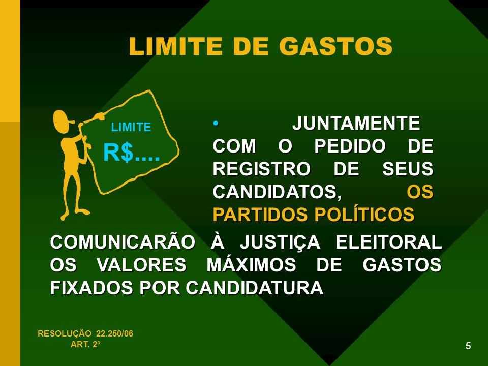 LIMITE DE GASTOS R$.... LIMITE. JUNTAMENTE COM O PEDIDO DE REGISTRO DE SEUS CANDIDATOS, OS PARTIDOS POLÍTICOS.
