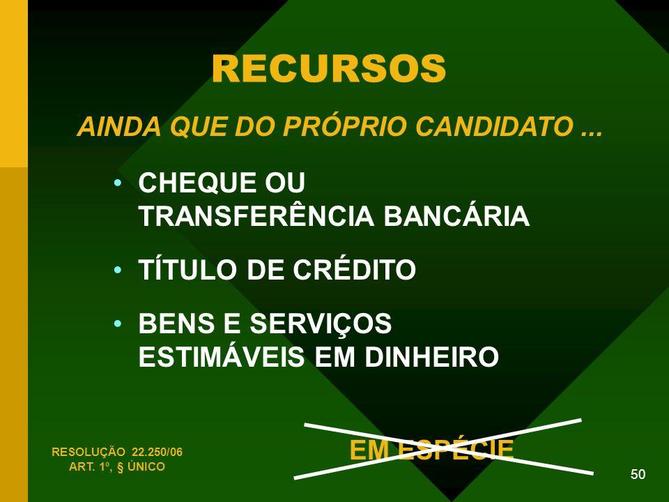 RECURSOS CHEQUE OU TRANSFERÊNCIA BANCÁRIA TÍTULO DE CRÉDITO