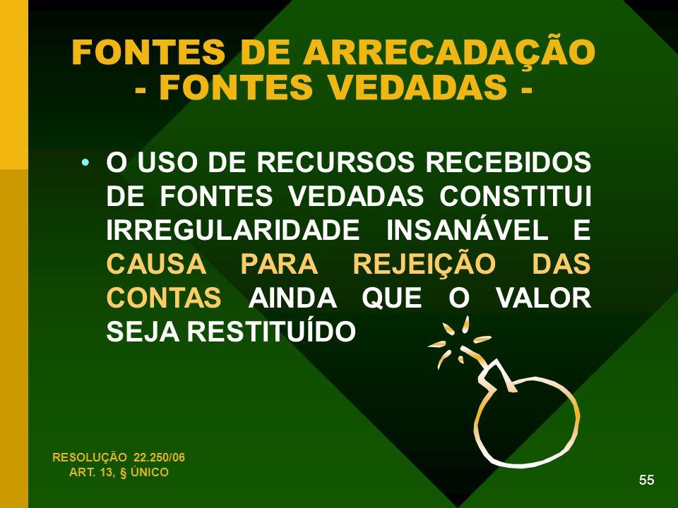FONTES DE ARRECADAÇÃO - FONTES VEDADAS -