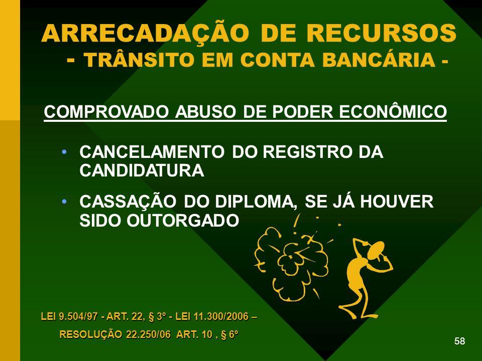 ARRECADAÇÃO DE RECURSOS - TRÂNSITO EM CONTA BANCÁRIA -