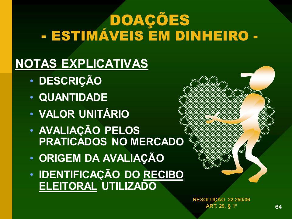 DOAÇÕES - ESTIMÁVEIS EM DINHEIRO -