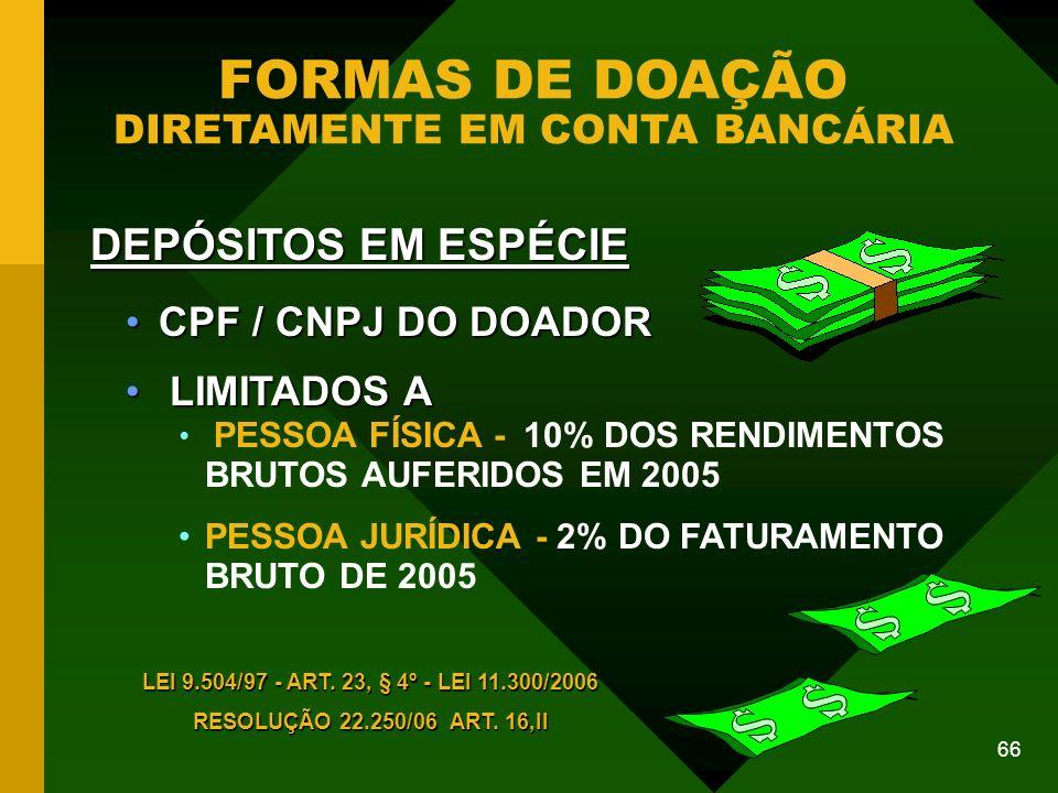 FORMAS DE DOAÇÃO DIRETAMENTE EM CONTA BANCÁRIA