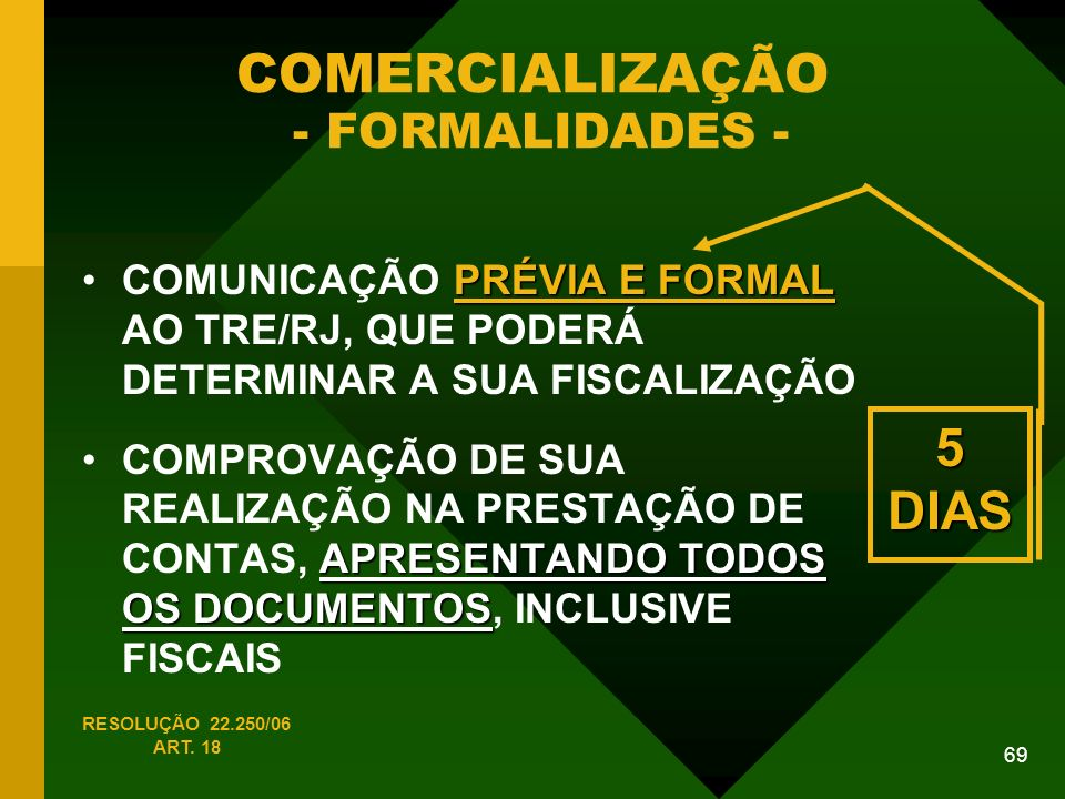 COMERCIALIZAÇÃO - FORMALIDADES -