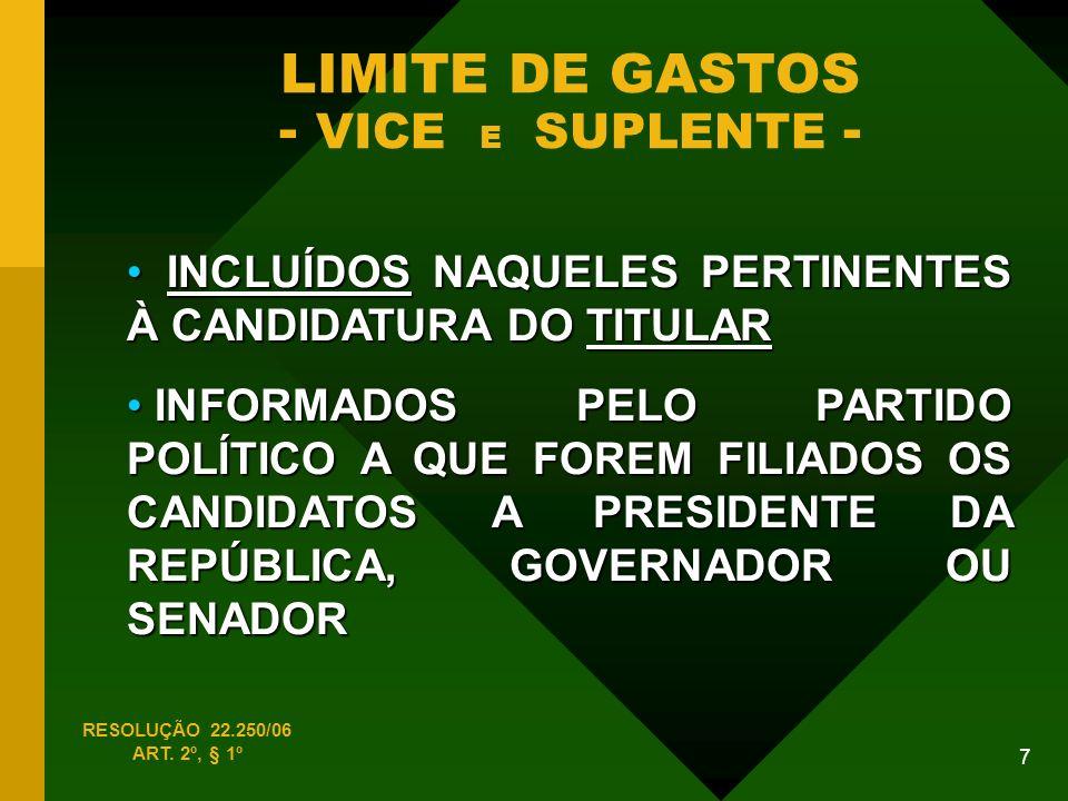 LIMITE DE GASTOS - VICE E SUPLENTE -