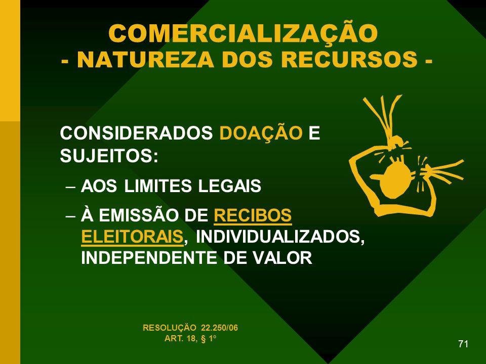 COMERCIALIZAÇÃO - NATUREZA DOS RECURSOS -