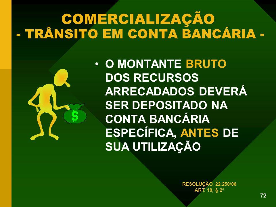 COMERCIALIZAÇÃO - TRÂNSITO EM CONTA BANCÁRIA -
