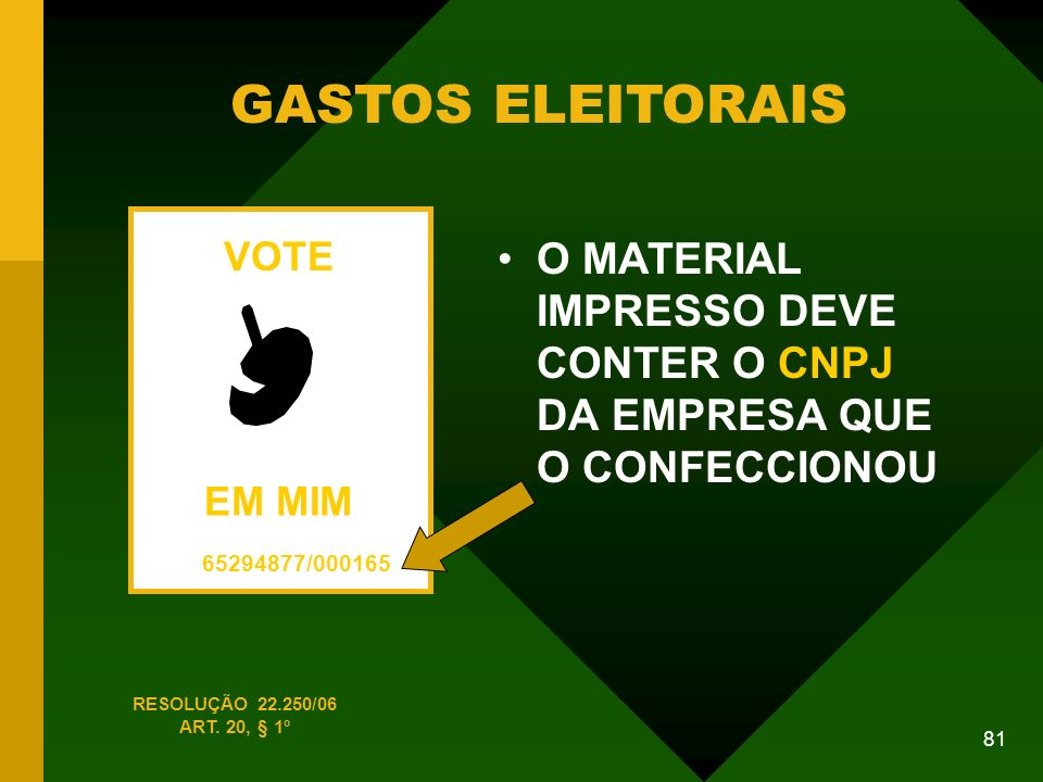 GASTOS ELEITORAIS VOTE. EM MIM. 65294877/000165. O MATERIAL IMPRESSO DEVE CONTER O CNPJ DA EMPRESA QUE O CONFECCIONOU.