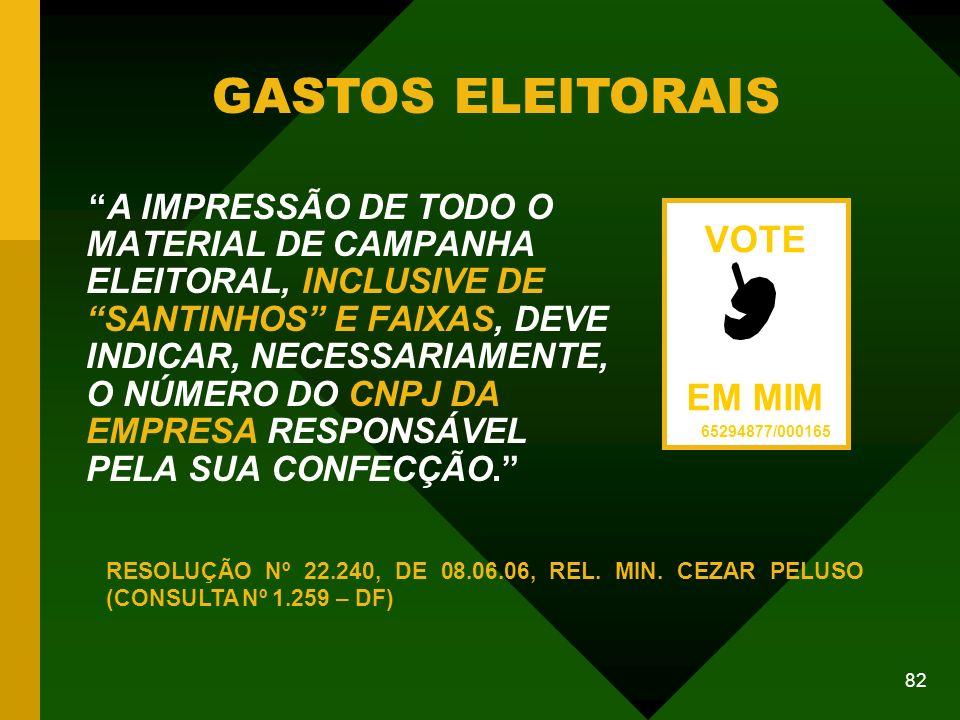 GASTOS ELEITORAIS VOTE EM MIM