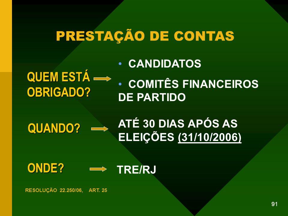 PRESTAÇÃO DE CONTAS QUEM ESTÁ OBRIGADO QUANDO ONDE CANDIDATOS