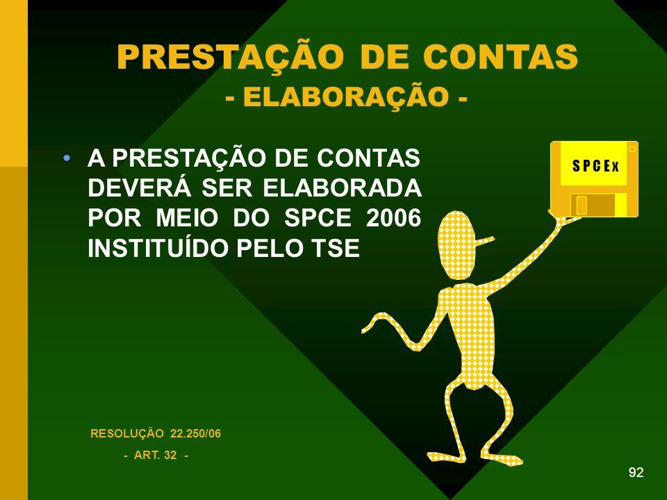 PRESTAÇÃO DE CONTAS - ELABORAÇÃO -